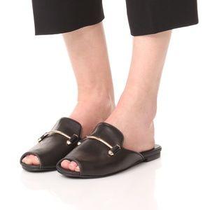 Jeffrey Campbell Black Talley Slide Peep Toe Mules